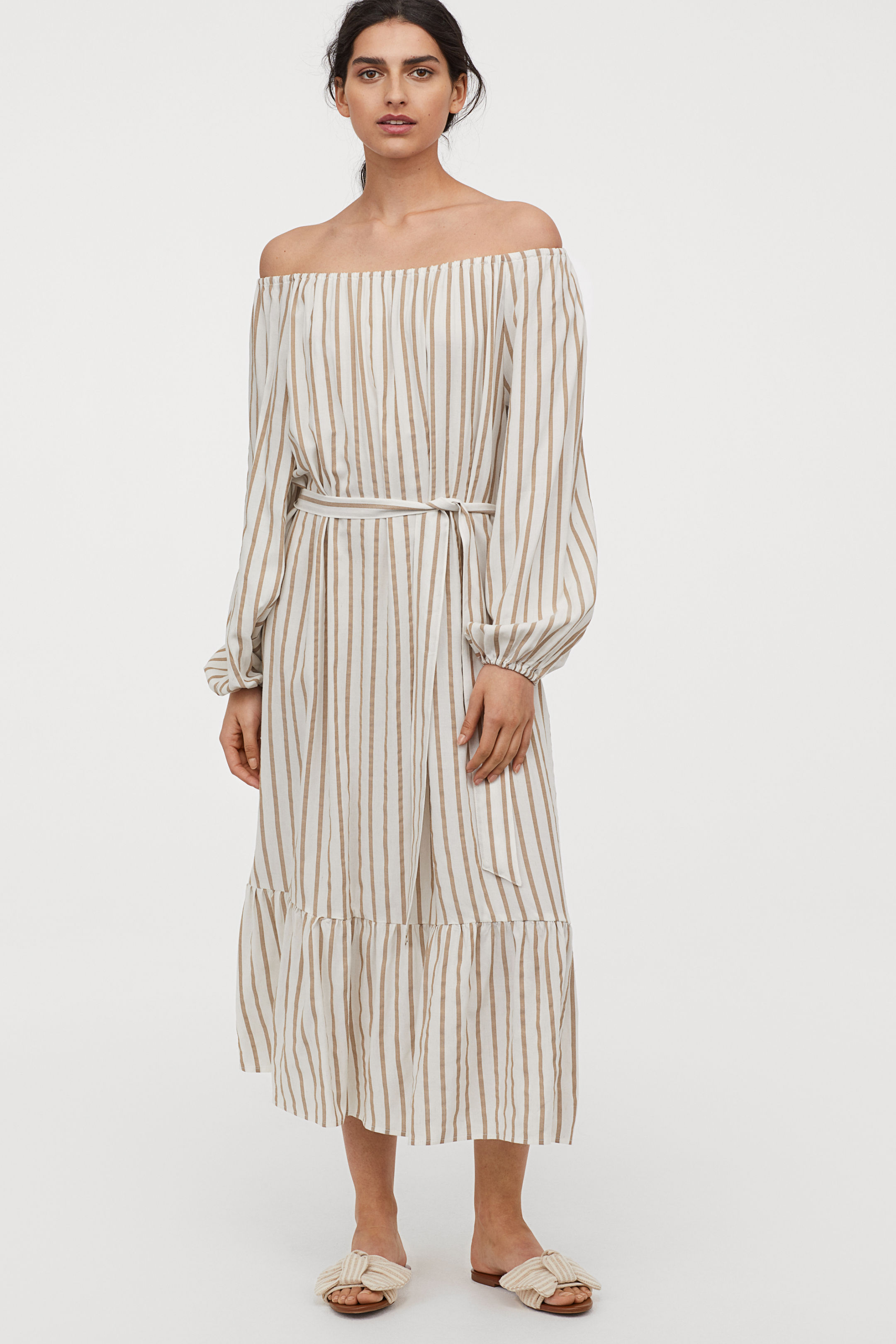 H&M Long Dress with Tie Belt