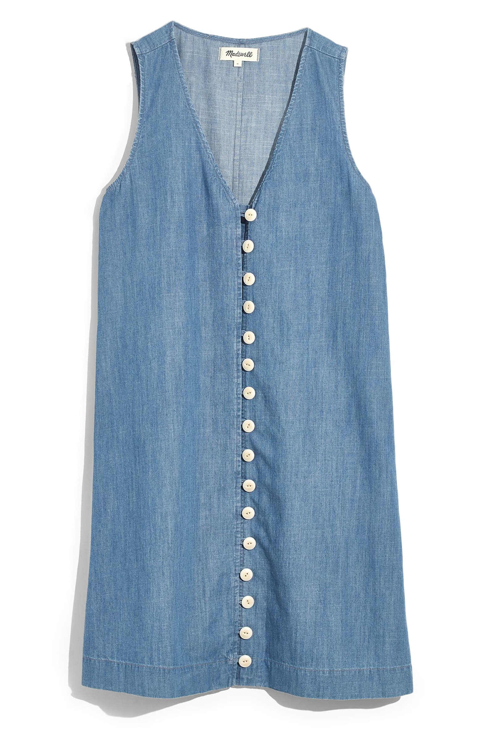 Madewell Easy Sleeveless Button Front Denim Dress