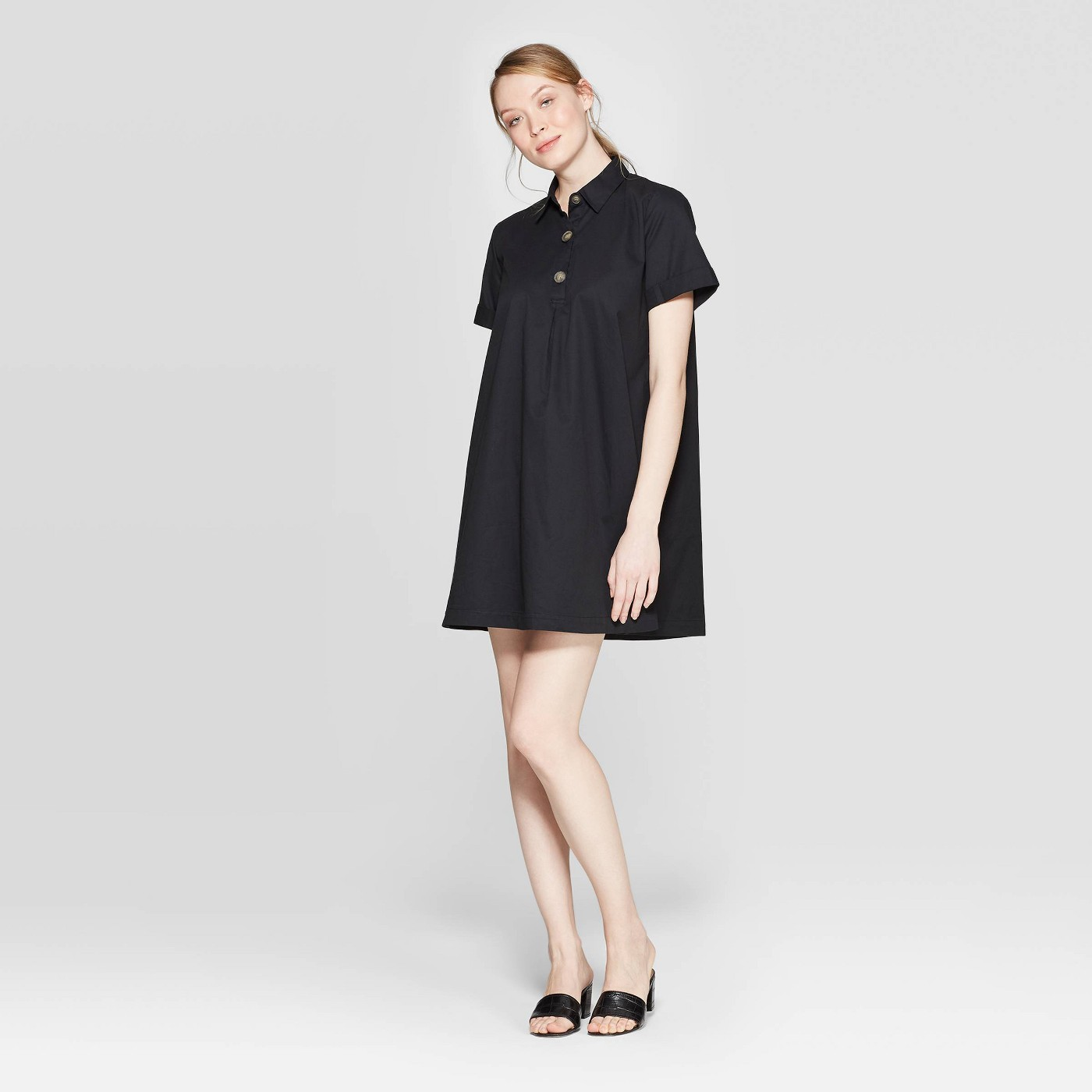 Who What Wear Women's Short Sleeve V-Neck Trapeze Shirtdress