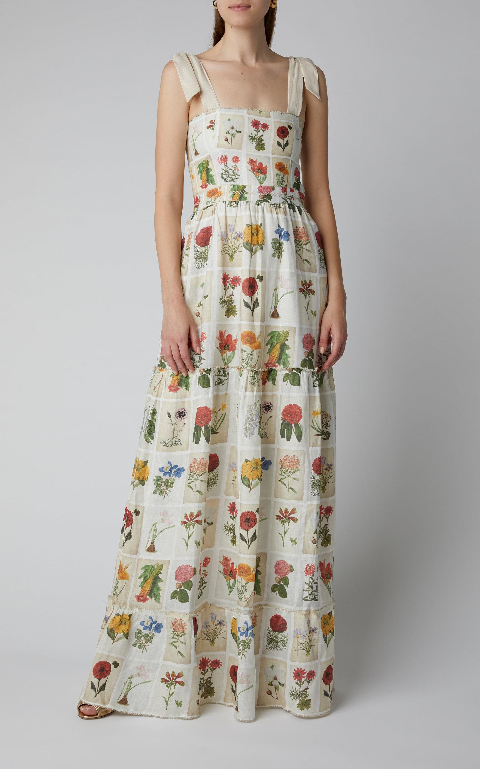 Agua by Agua Bendita Herbarium Floral-Print Linen Maxi Dress