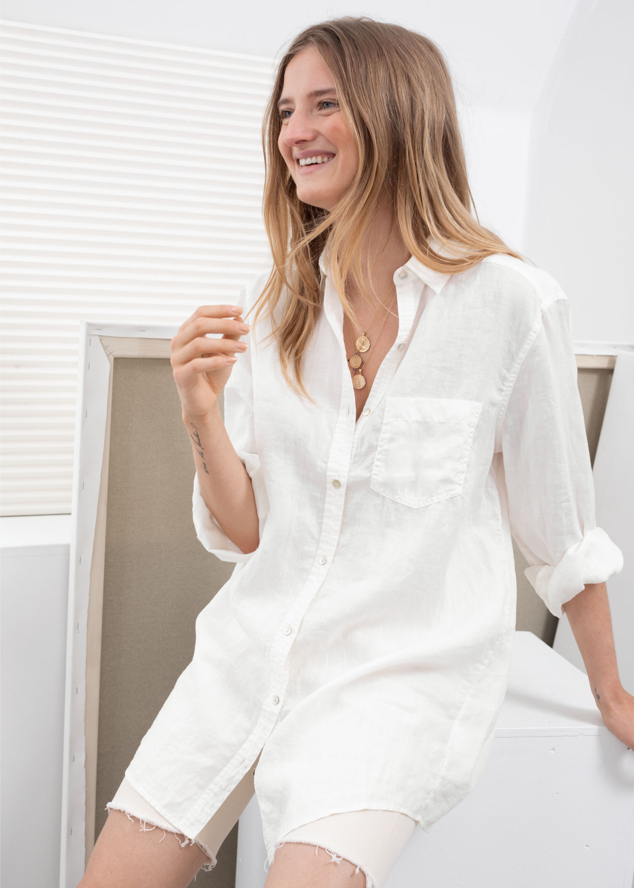 And Other Stories Oversized Linen Button Up Shirt