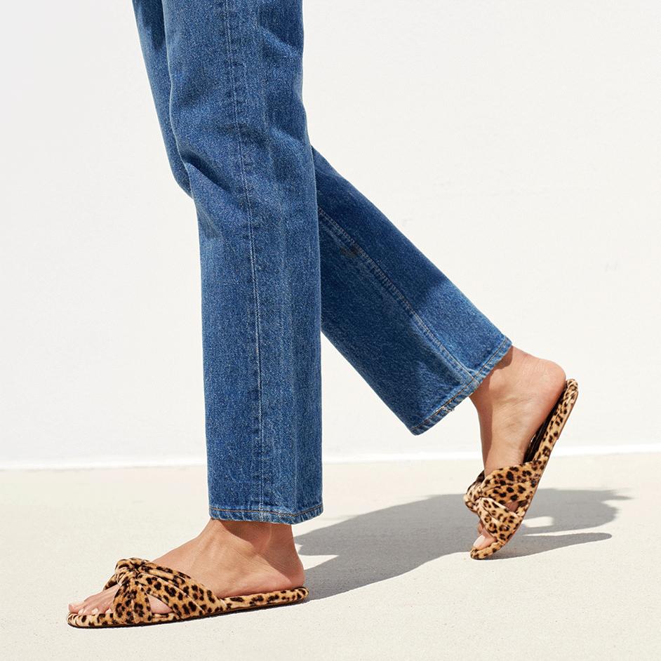 Loeffler Randall Polly Puffy Knot Sandal in Leopard Velvet
