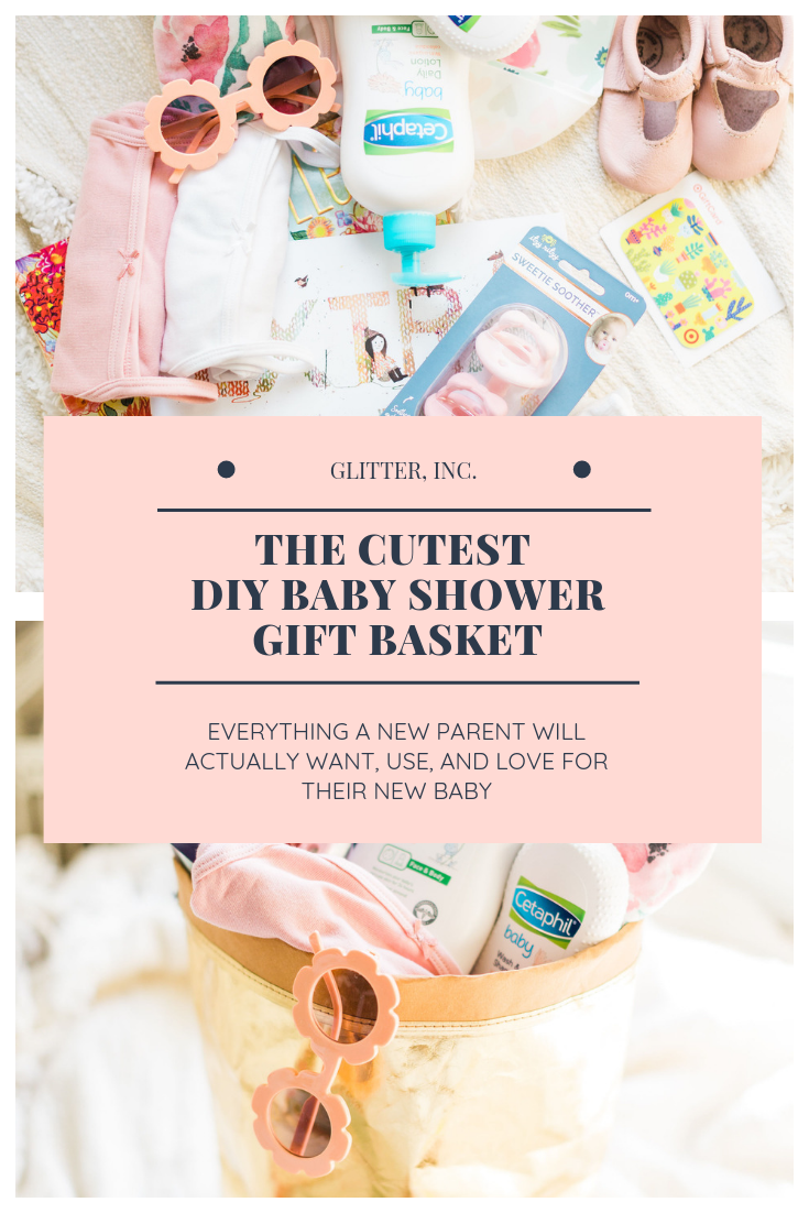 How to put together the cutest DIY baby shower gift basket that is not only memorable and sweet, but every part of the basket is super useful and functional.   Click through for the details.   glitterinc.com   @glitterinc