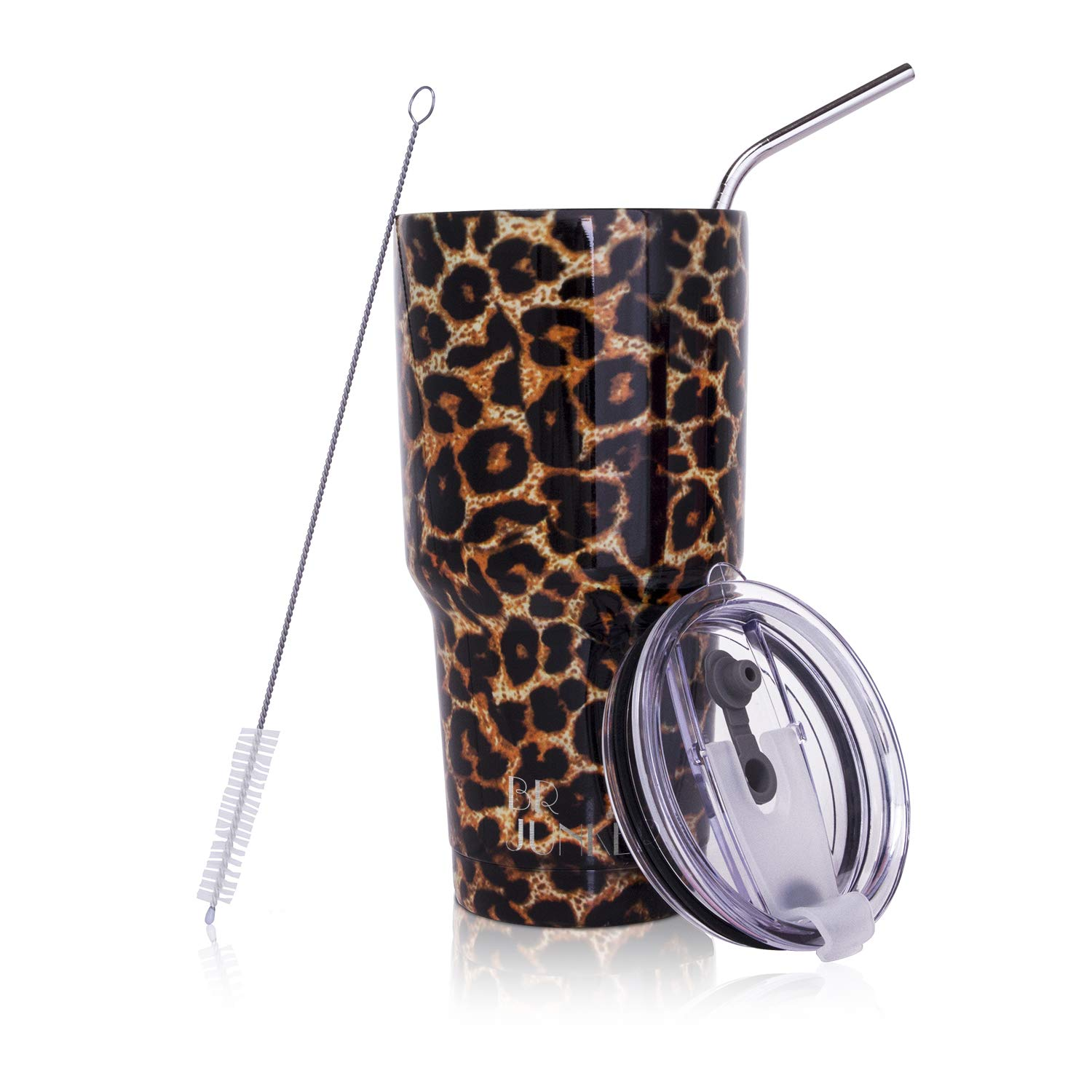 30 oz. Tumbler Double Wall Stainless Steel Vacuum Insulation Travel Cup with Crystal Clear Lid and Straw in Leopard, Perfectly Feminine Sneakers