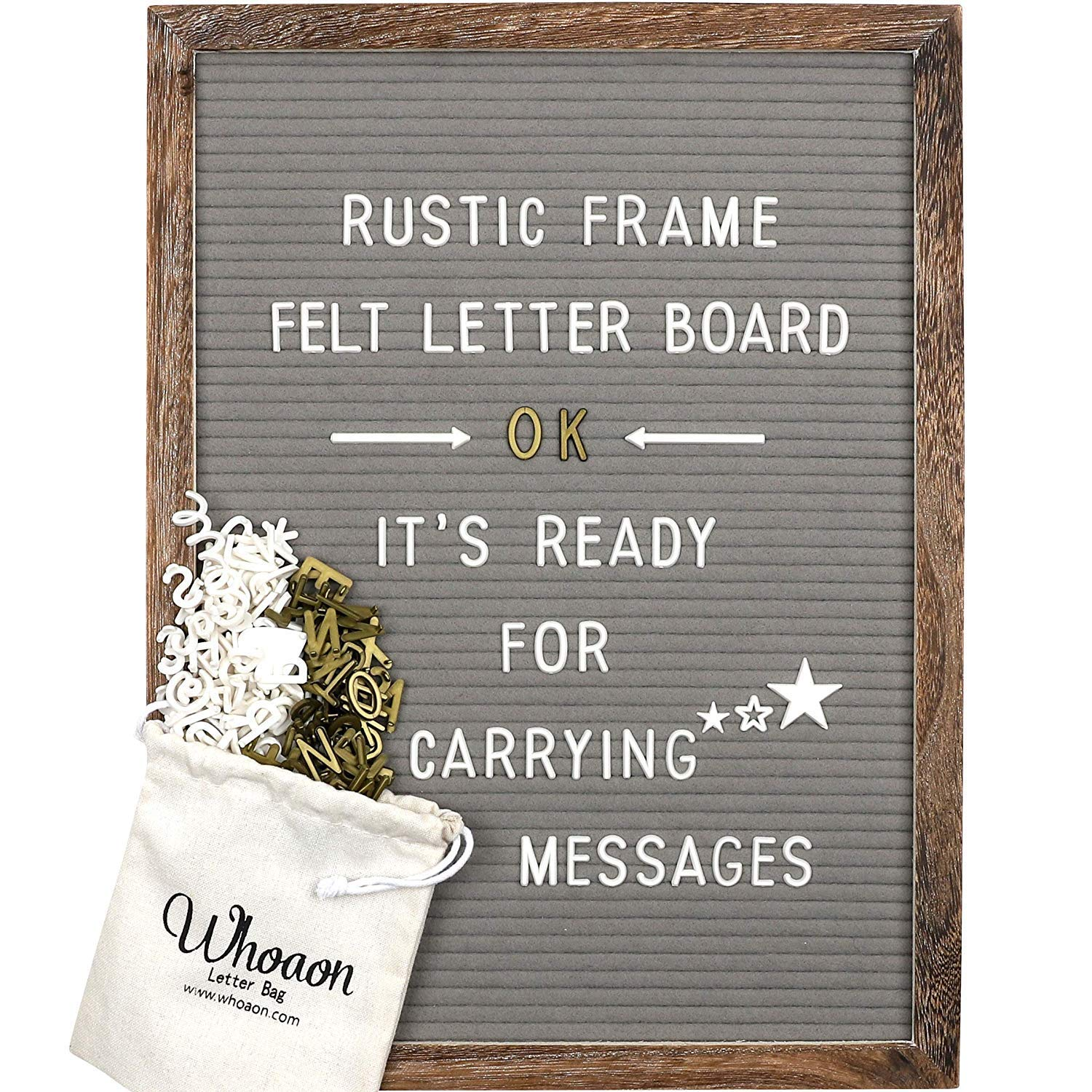 M favorite rustic Wood Farmhouse Frame Gray Felt Letter Board