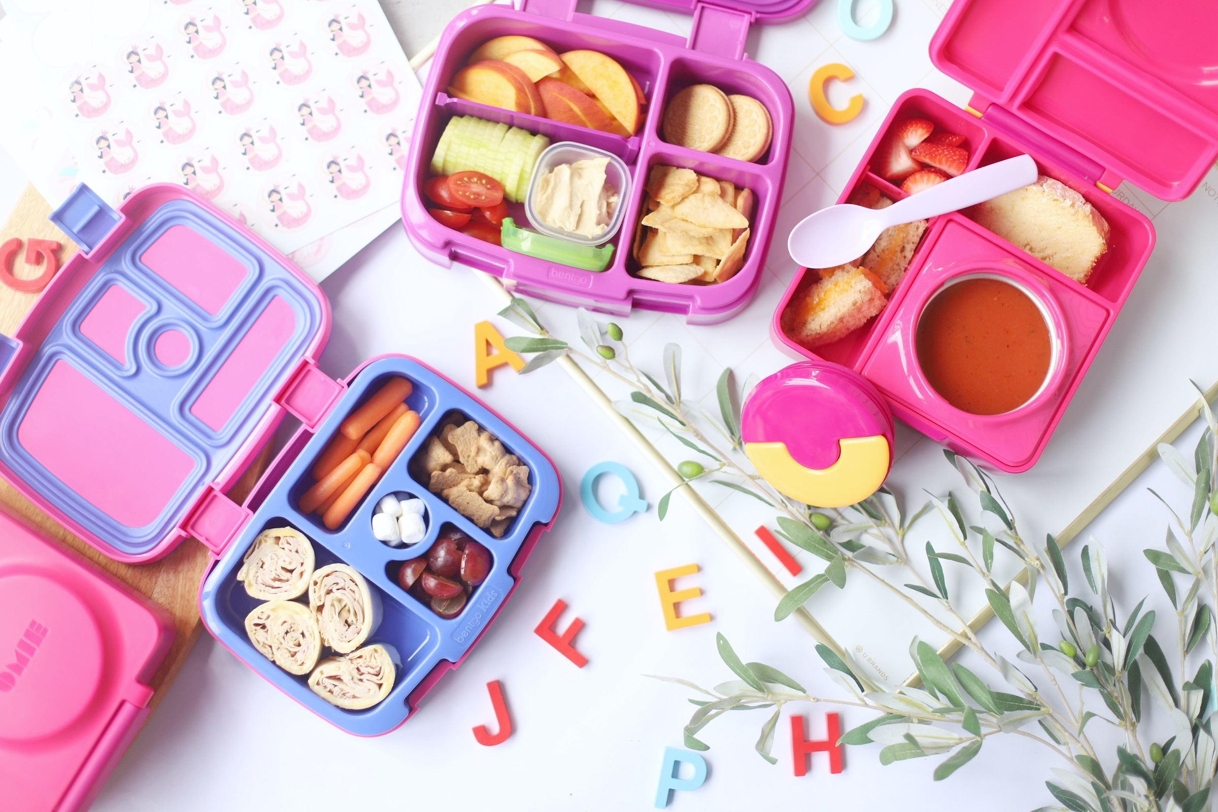 put hand pies in a bento box that is pink and blue
