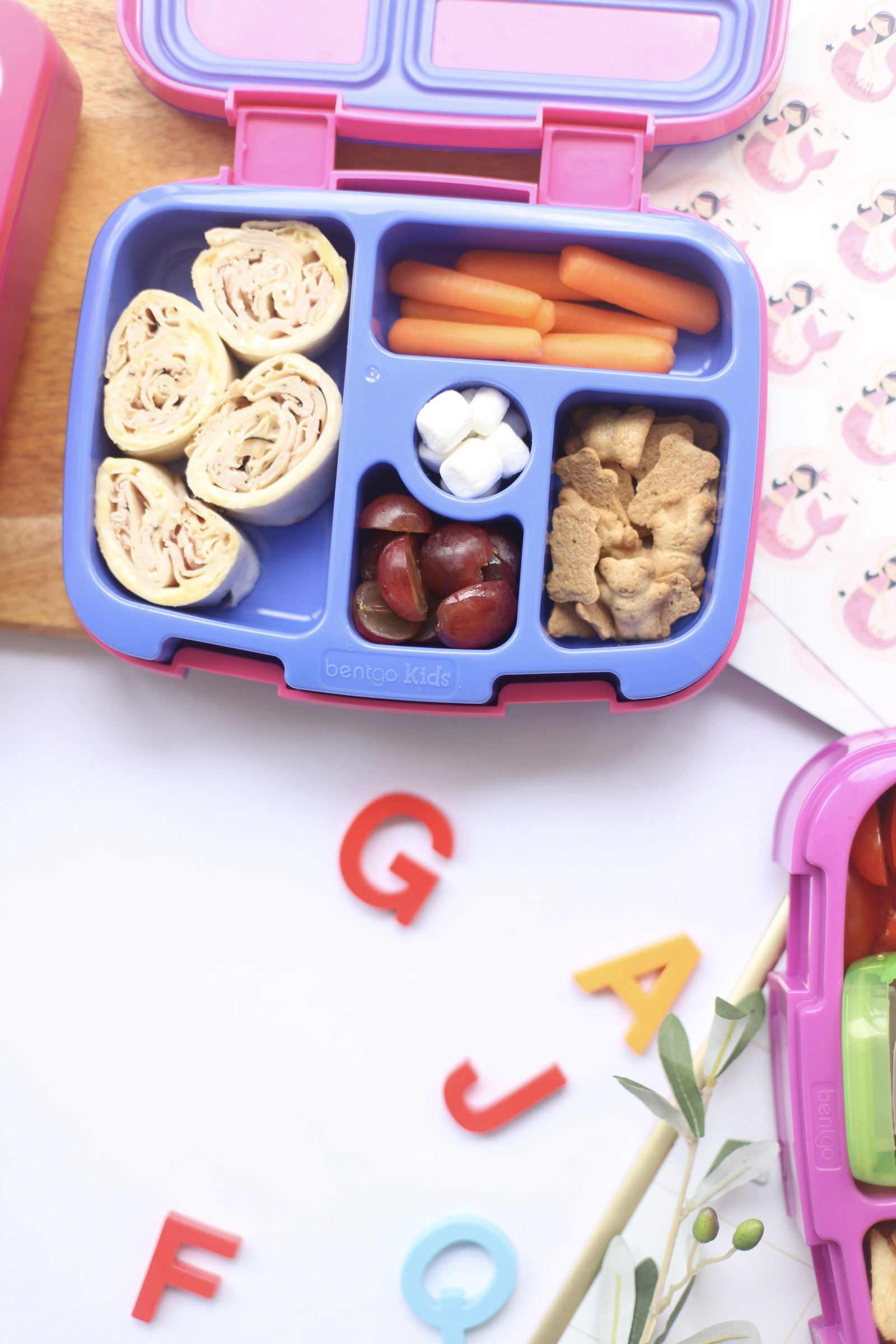 carrots and grapes in Bento Box Lunch Ideas