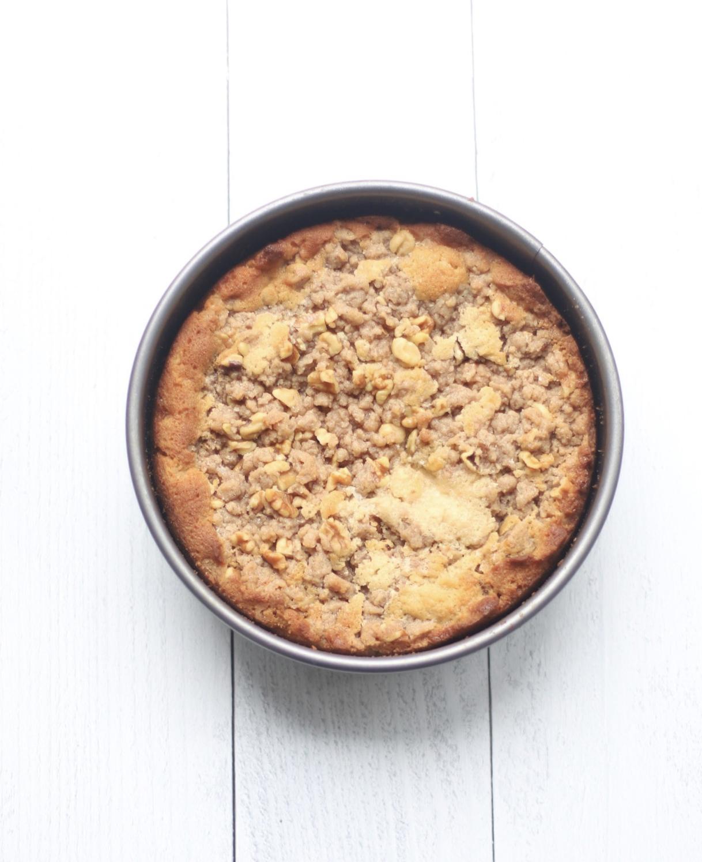 apple crumb cake in baking pan