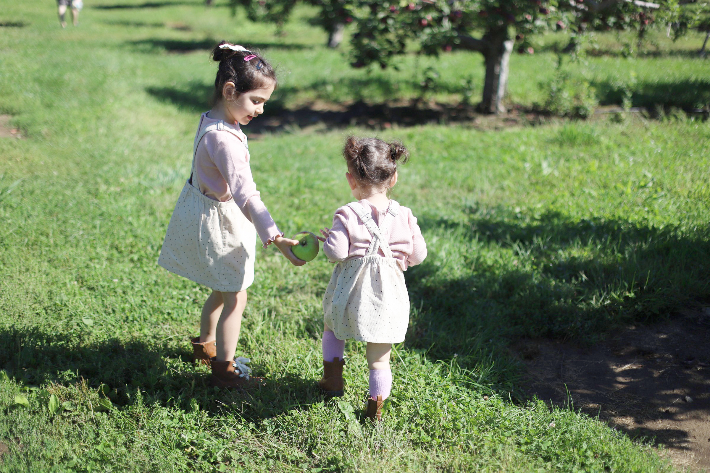 Two children holding an apple at Brooksby Farm