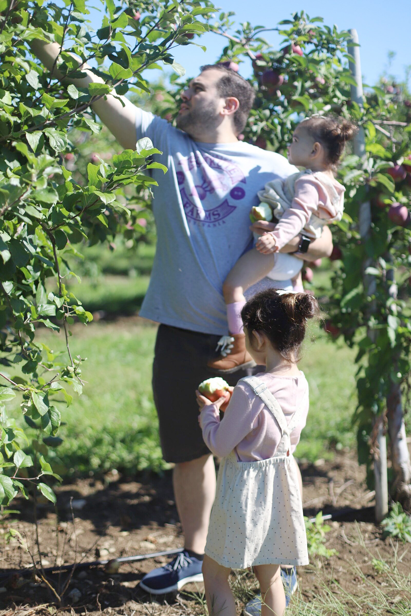 Father and daughters apple picking at Brooksby Farm in Peabody, Massachusetts // Fall Bucket List | glitterinc.com | @glitterinc