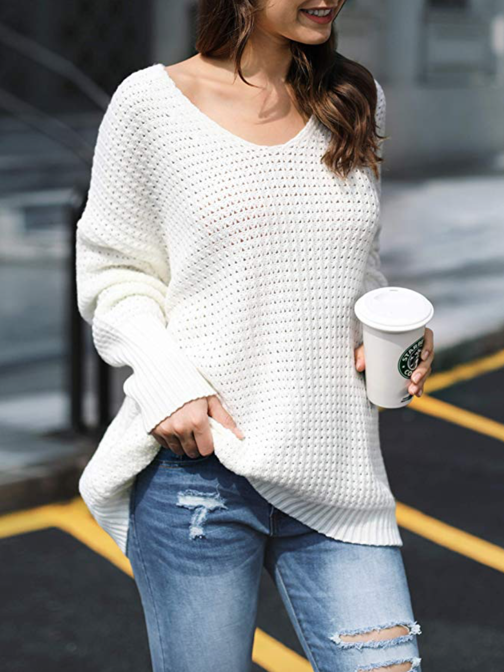 V Neck Long Batwing Sleeve Knit Chic Pullover Sweaters