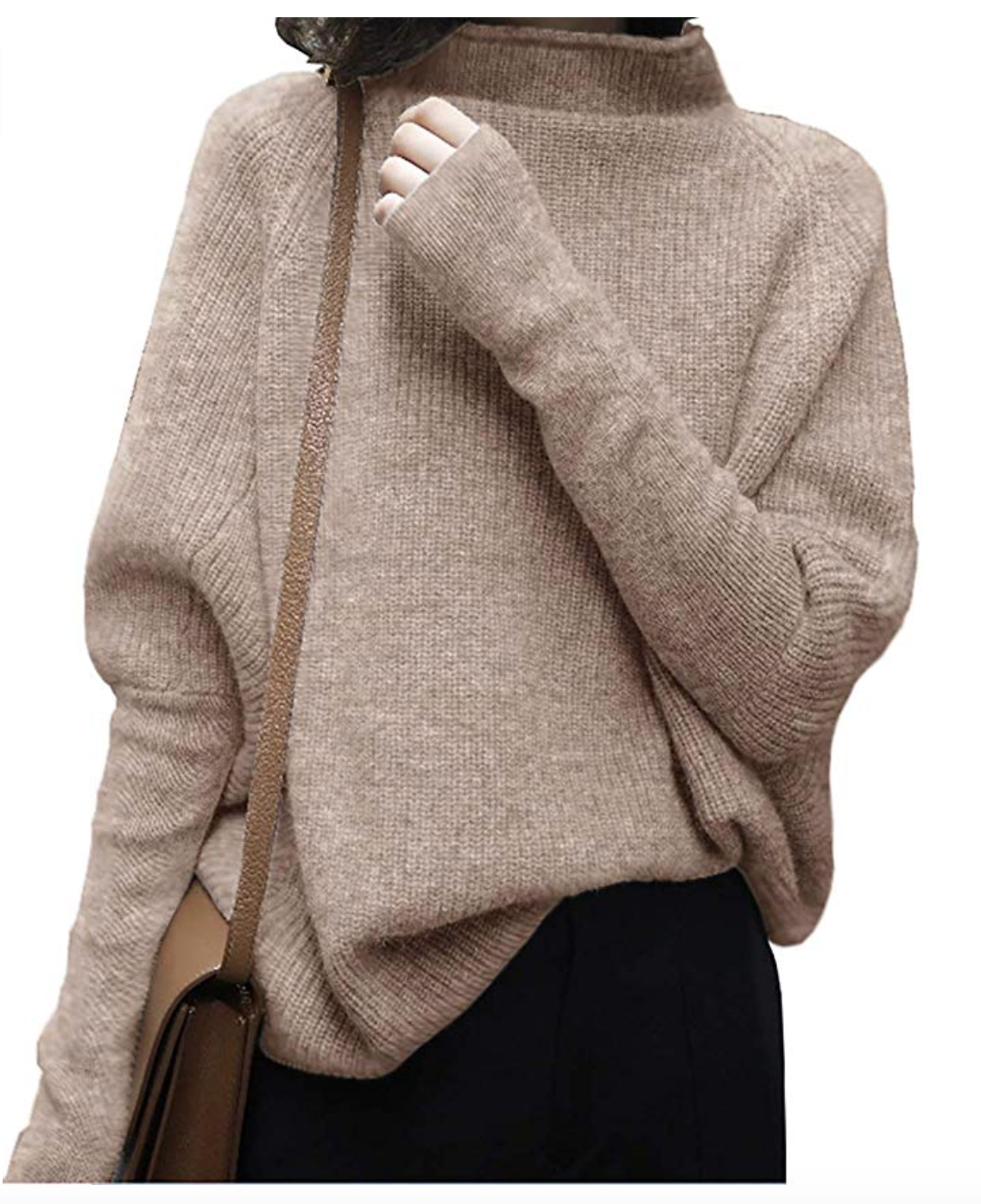 Oversized Chunky Winter Wool Half Turtleneck Batwing Sleeve Knitted Pullover Sweater