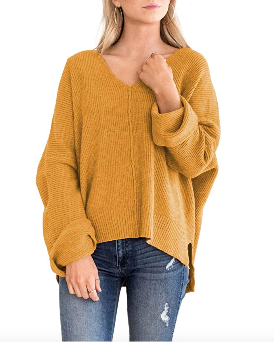 MIROL Women's Oversized Batwing Sleeve V Neck Solid Color Side Split Knit Chic Pullover Sweaters
