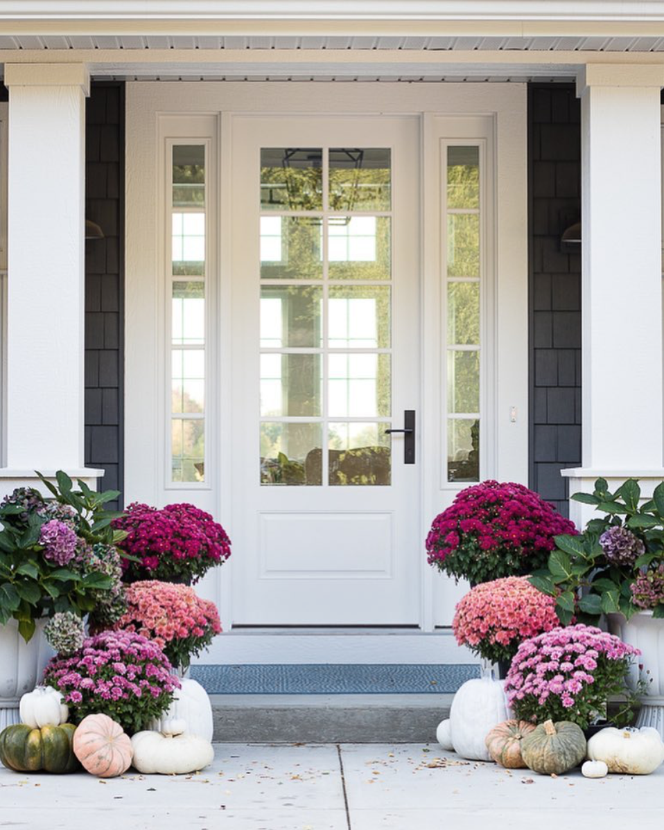 Pink and Purple Mums and Heirloom Pumpkins - Fall Porch Inspiration
