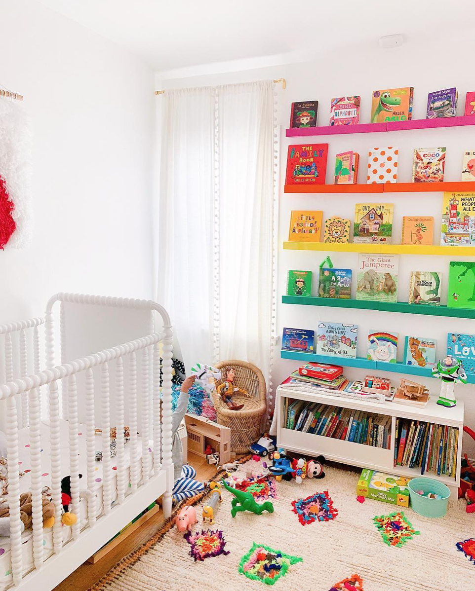 Rainbow Bookshelves in a Nursery via Studio DIY