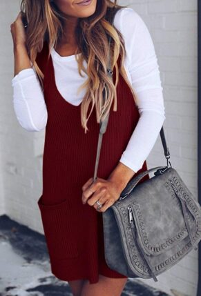 Racerback Tank Sweater Dresses Fall Ribbed Knit Loose V Neck Dress with Pockets