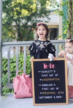Scarlett's First Day of Kindergarten and Emmeline's First Day of Preschool – Cambridge – 3 – glitterinc.com