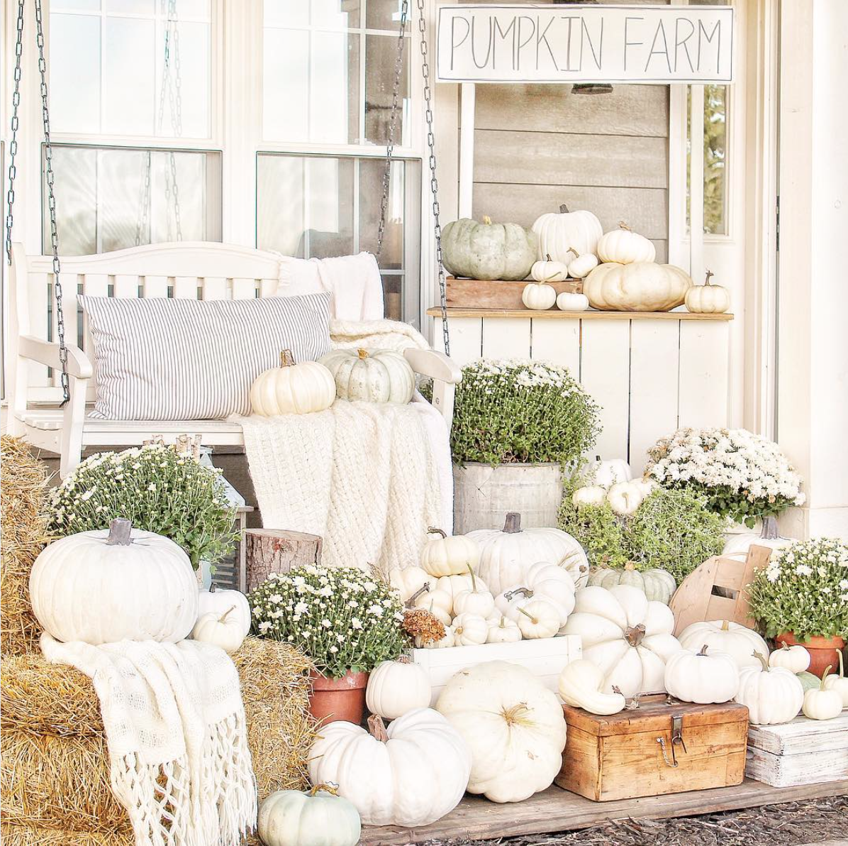 White Fall Farmhouse Front Porch