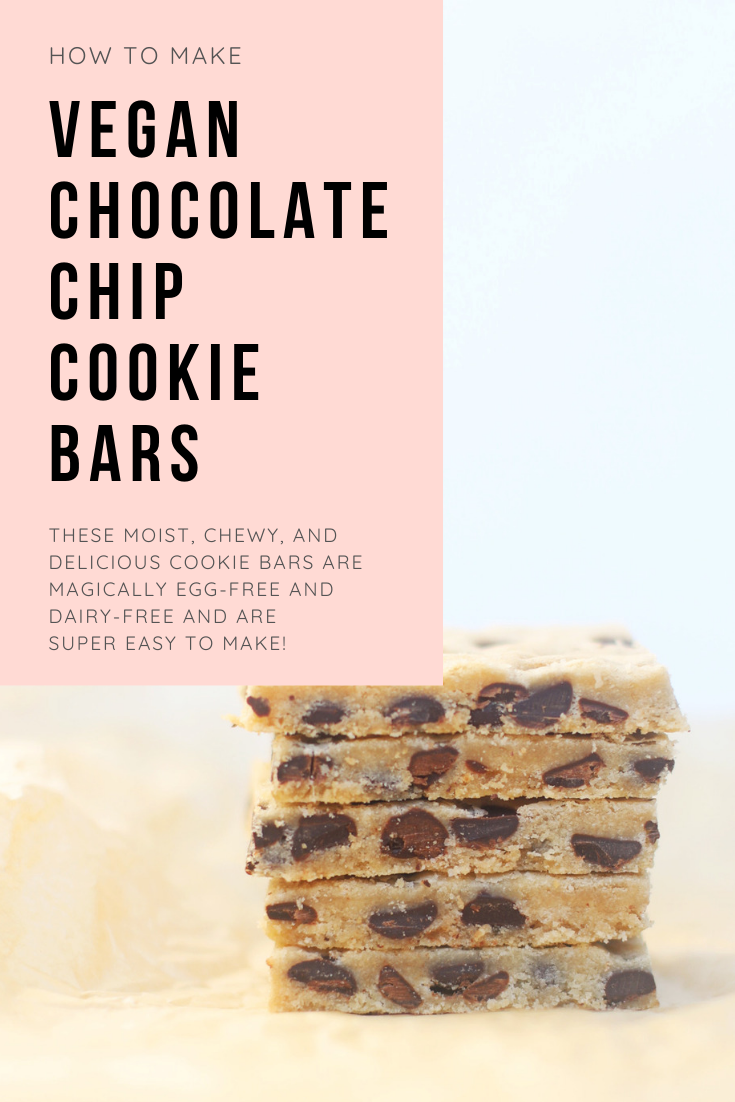 Just as decadently yummy as a classic cookie, cookie bars are simple to make and come together in a fraction of the time. And these vegan chocolate chip cookie bars in particular are moist, chewy, and a total crowd-pleaser! #recipe #cookiebars #vegancookies #vegan #dairyfree | glitterinc.com | @glitterinc