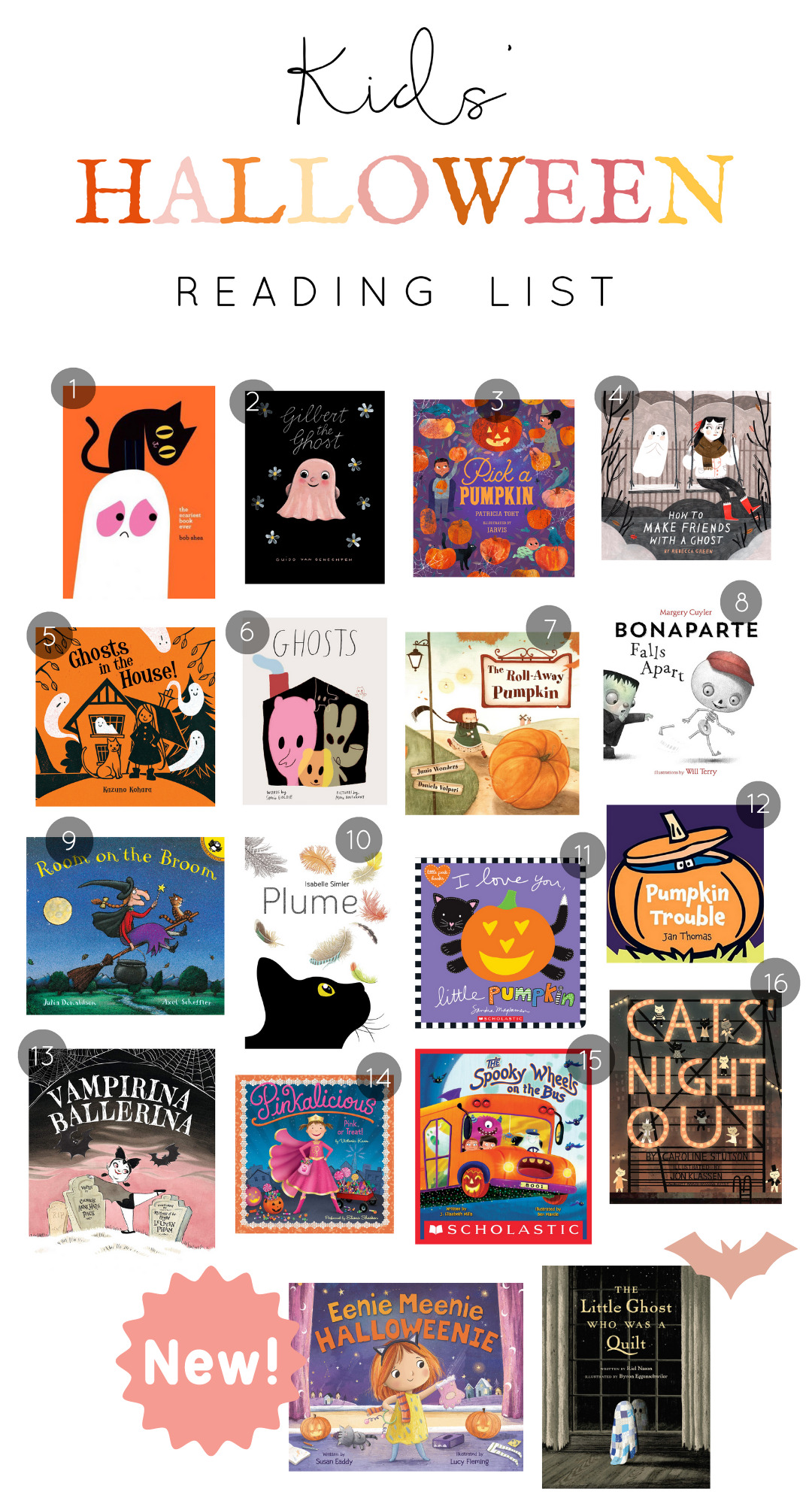 Usher in the Halloween spirit with 16 not so spooky Halloween books for kids that your whole family will love! These adorably frightful Halloween books are the perfect books to read aloud to your preschoolers and elementary schoolers! | @glitterinclexi | GLITTERINC.COM