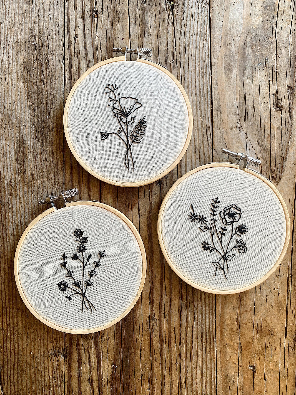 Hand Embroidered Black Line Flower Bouquet Hoop Art Wall Hanging - The Comfiest Cheetah Flats