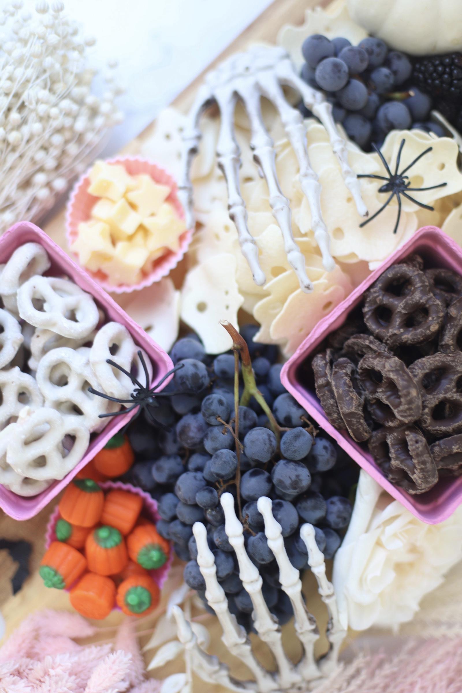pretzels, chocolates, berries