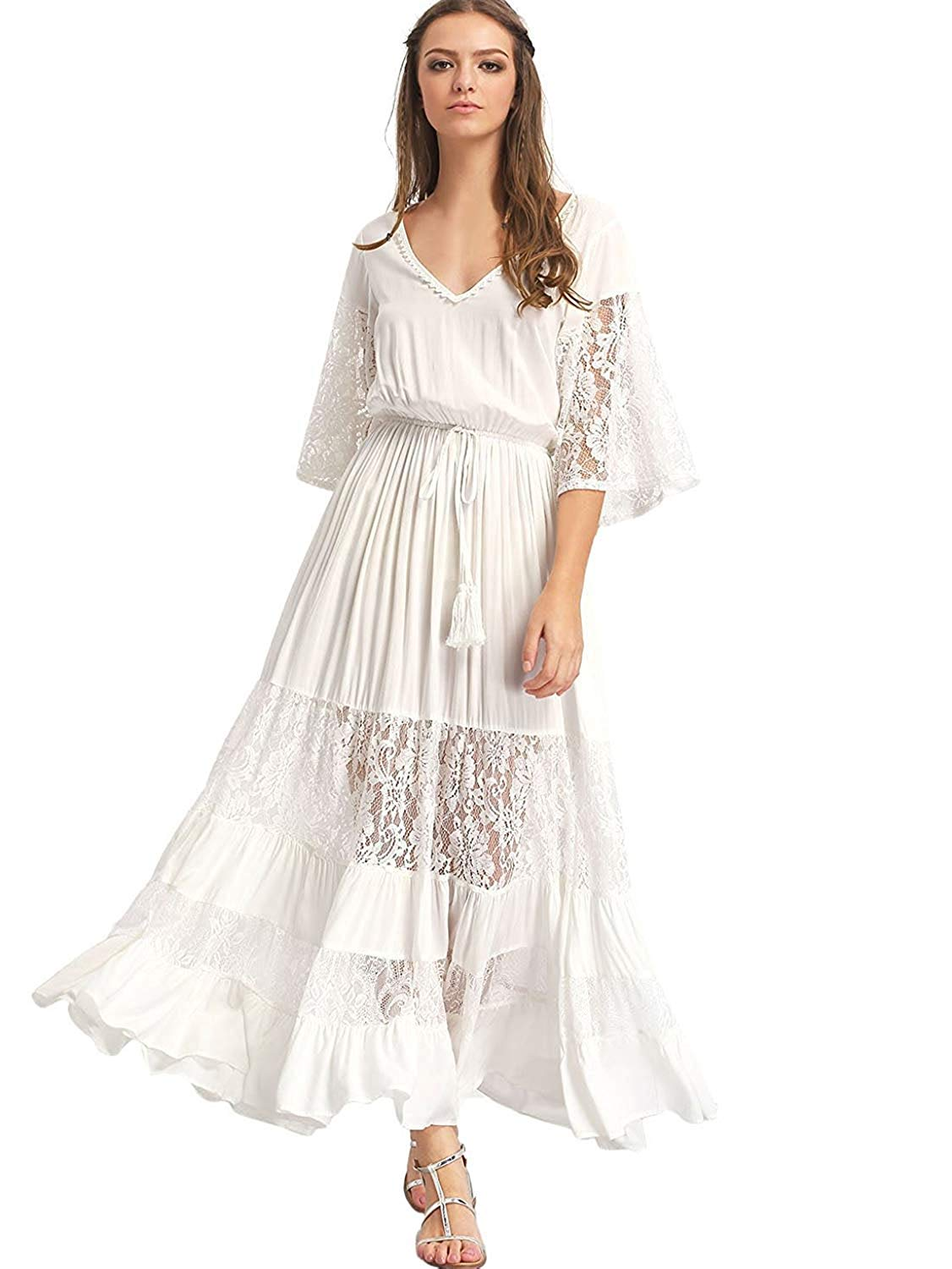 Milumia Women's Bohemian Drawstring Waist Lace Splicing White Long Maxi Dress