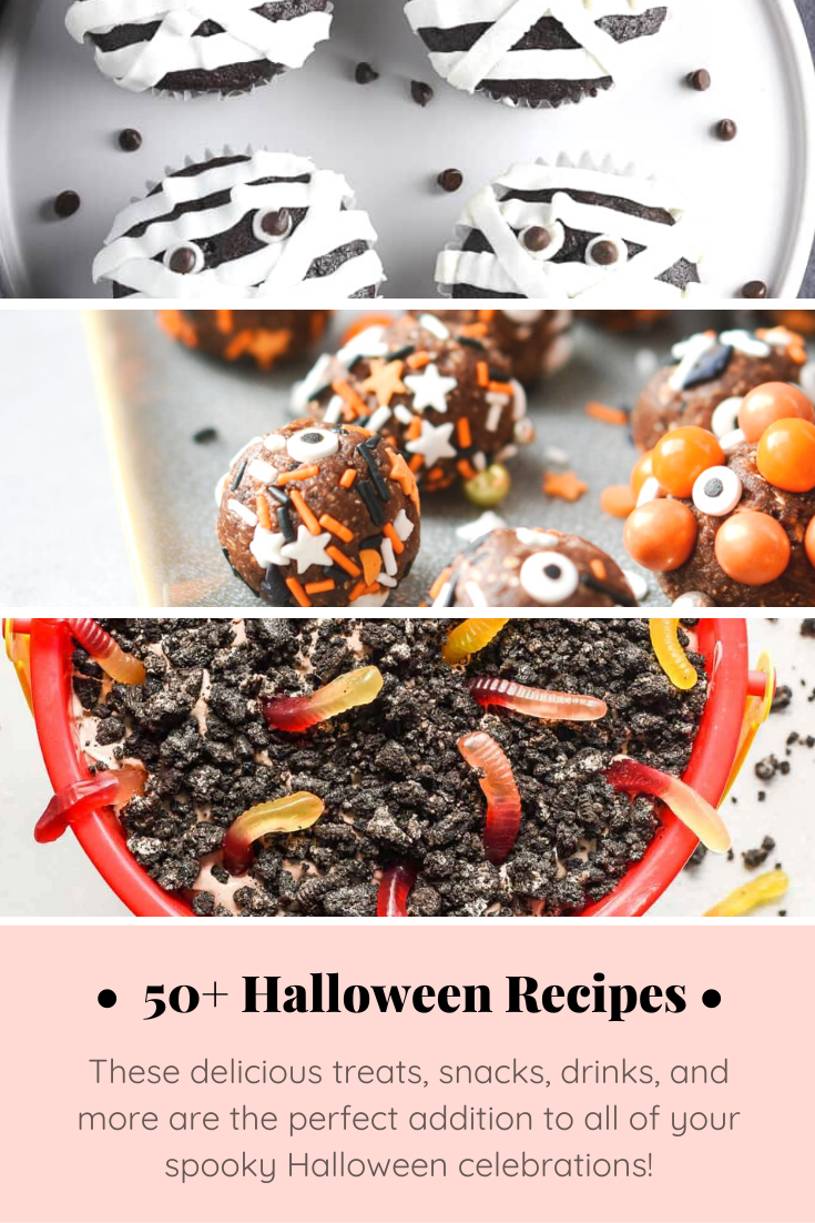 From savory appetizers to spooky sweet desserts to brilliant punch ideas, this spooktacular list, chock full of 50+ fun Halloween recipes, has everything you'll need for one epic Halloween celebration! Click through for the recipes. | glitterinc.com | @glitterinc
