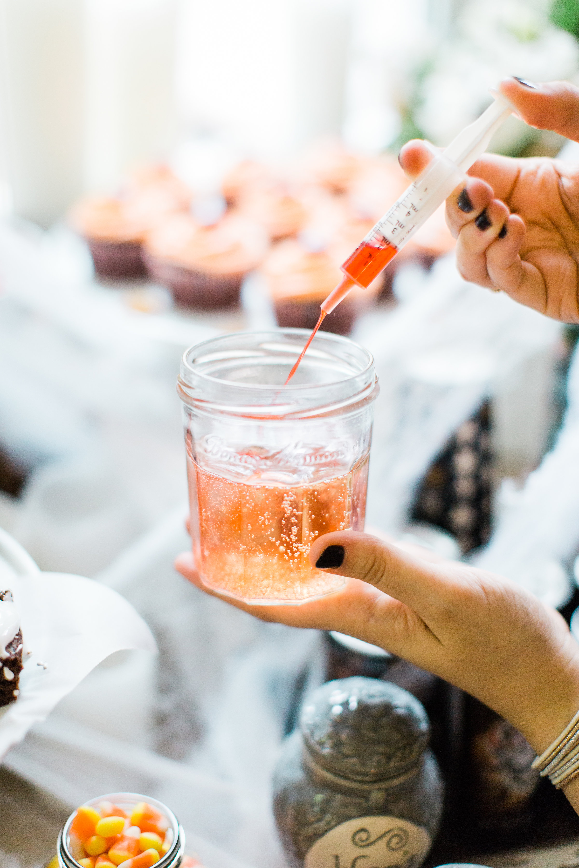 From savory appetizers to spooky sweet desserts to brilliant punch ideas, this spooktacular list, chock full of 50+ fun Halloween recipes, has everything you'll need for one epic Halloween celebration! Click through for the recipes.   glitterinc.com   @glitterinc // Spooky Shirley Temples