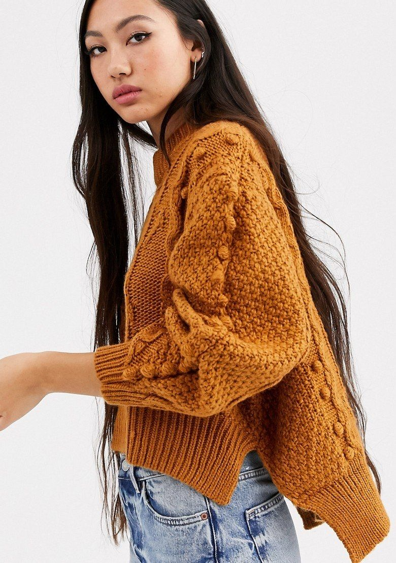 ASOS WHITE Crop Cable Bobble Knit Sweater