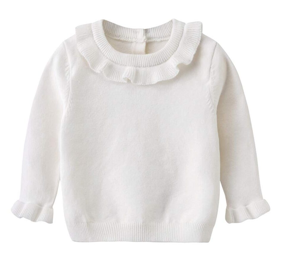 Auro Mesa White Sweater Baby Toddler Little Girls Ruffled Knit Sweater