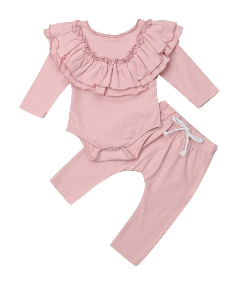 Baby Girl Ruffle Sleeve Romper Newborn Long Sleeve Bodysuit Infant Fly Sleeve Onesie Jumpsuit + Ruffle Pants