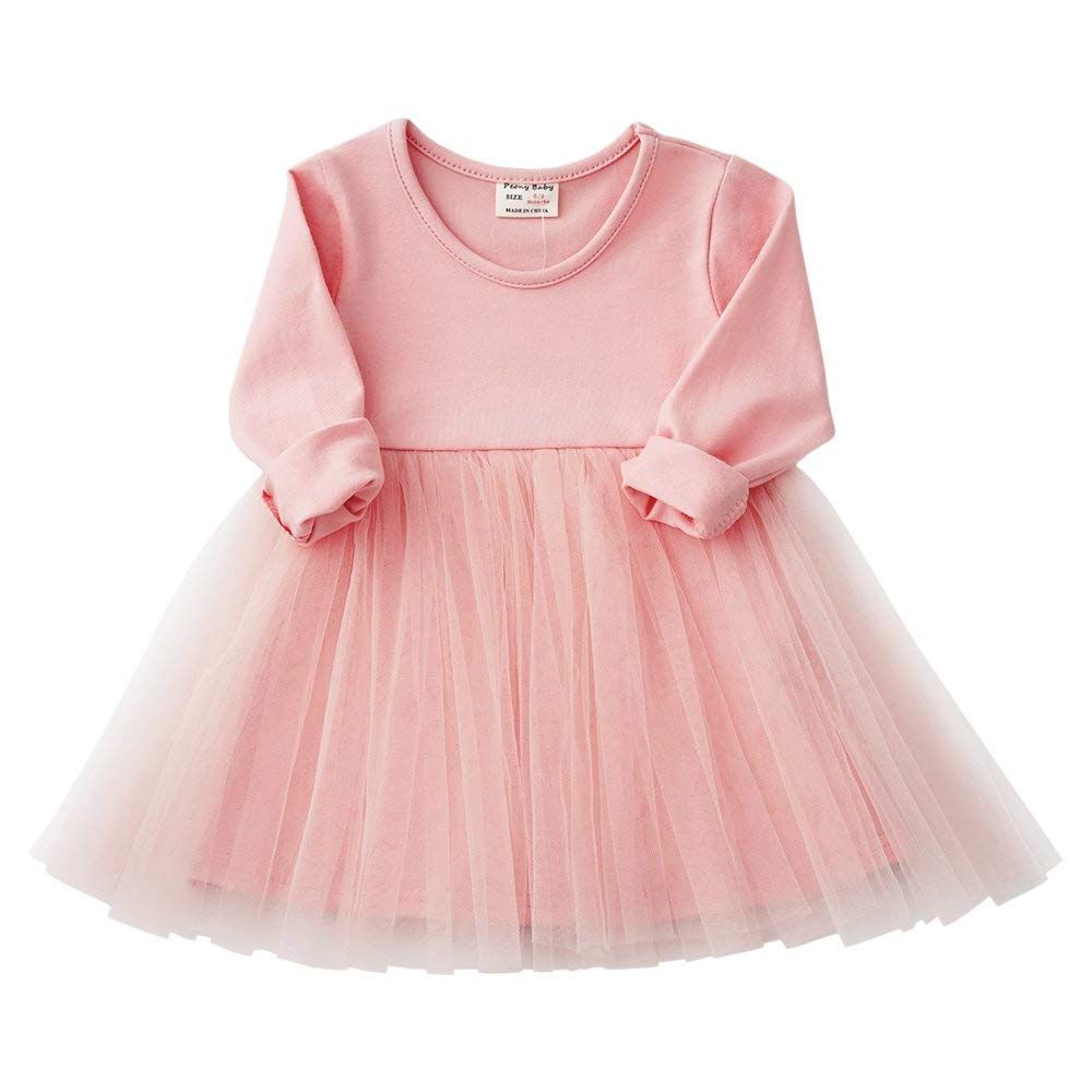 Baby Girls Long Sleeve Ruffle Tulle Tutu Dress