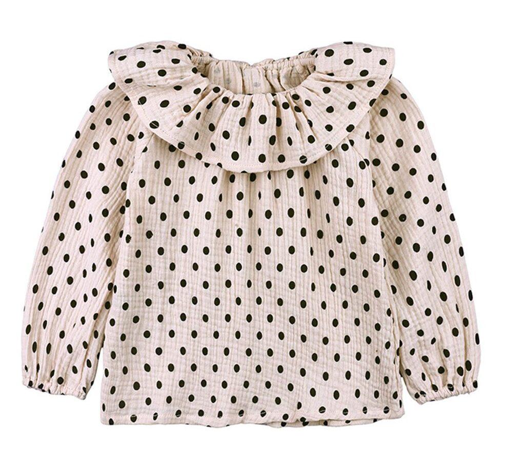 Baby Girls Cotton Linen Blend Long Sleeve Elastic Cuff Dot Blouse