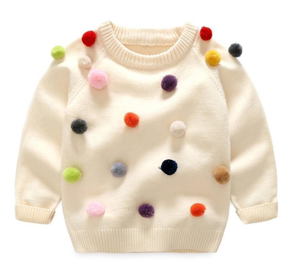 Cotton Woolen Pom Pom Baby Sweater
