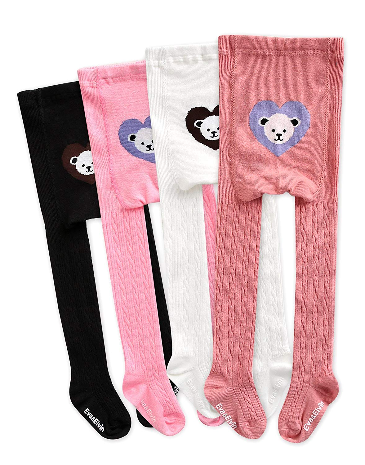 Eva&Elvin by Vaenait Baby 1-7Y Girls 4 Pairs Leggings Pants Tights Heart Bear