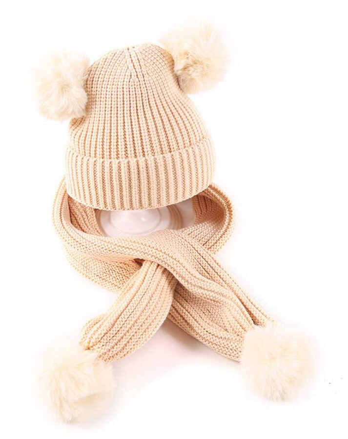 Baby Winter Crochet Hat Scarf Set Girls Boys Infant Toddler Knit Warm Pom Pom Beanie Hat Scarf (6M-3Y)
