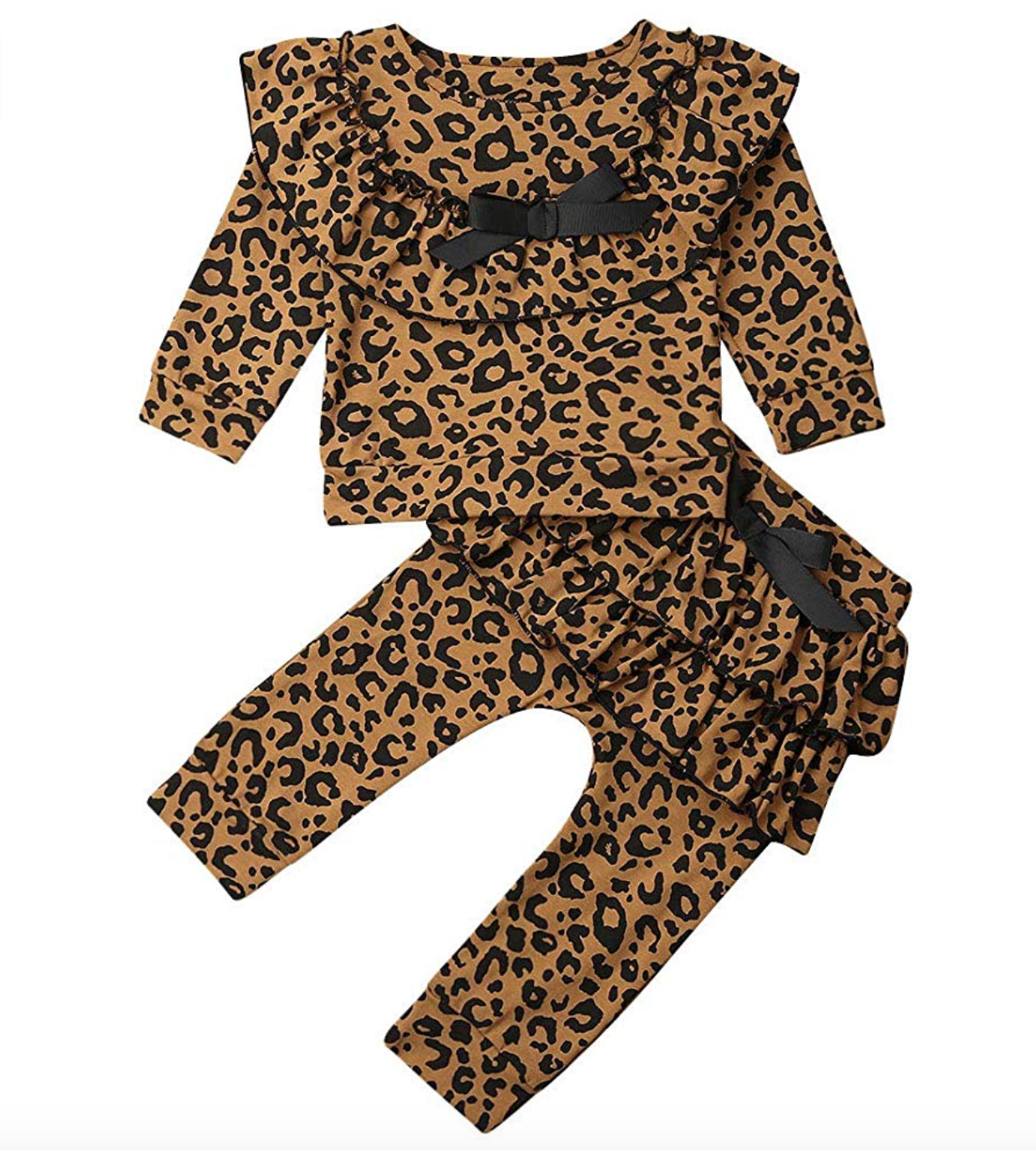 Girl Leopard Outfits Ruffle Long Sleeve Romper and Haren Pants Clothing Set