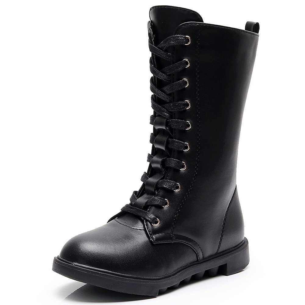 Kid's Girls Leather Lace-Up Zipper Mid Calf Combat Riding Winter Boots