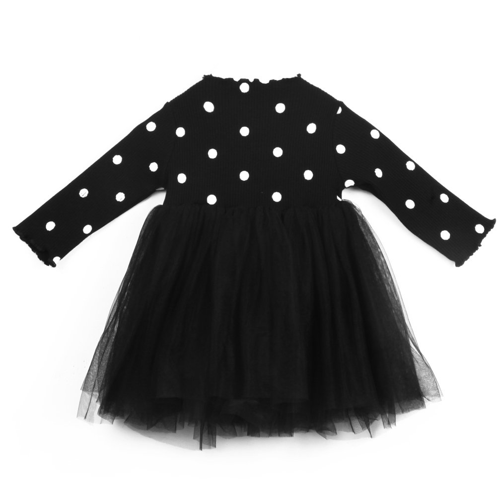 Kids Toddler Baby Girl Long Sleeve Polka Dots Knitted Sweater Top Princess Party Tutu Dress Autumn