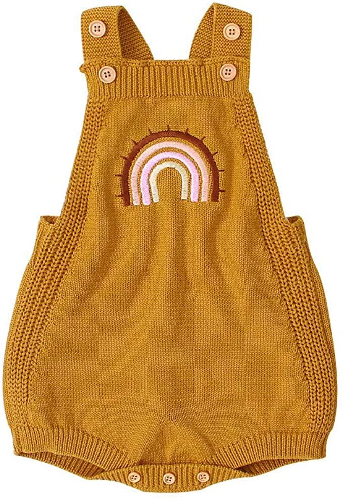 Knit Rainbow Romper for Toddler Girls