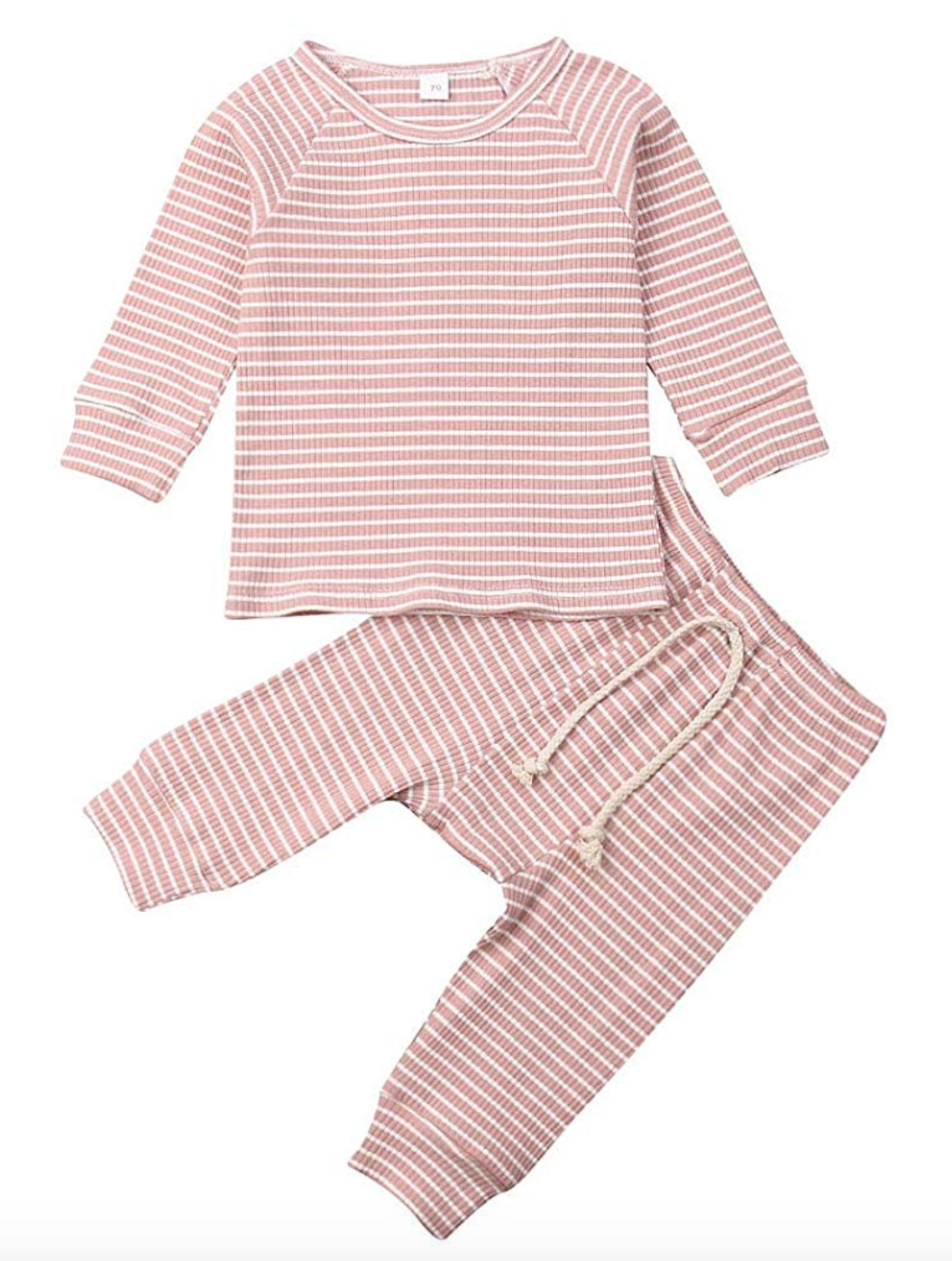 Newborn Unisex Baby Clothes Outfits Long Sleeve Ribbed 2 Piece Set