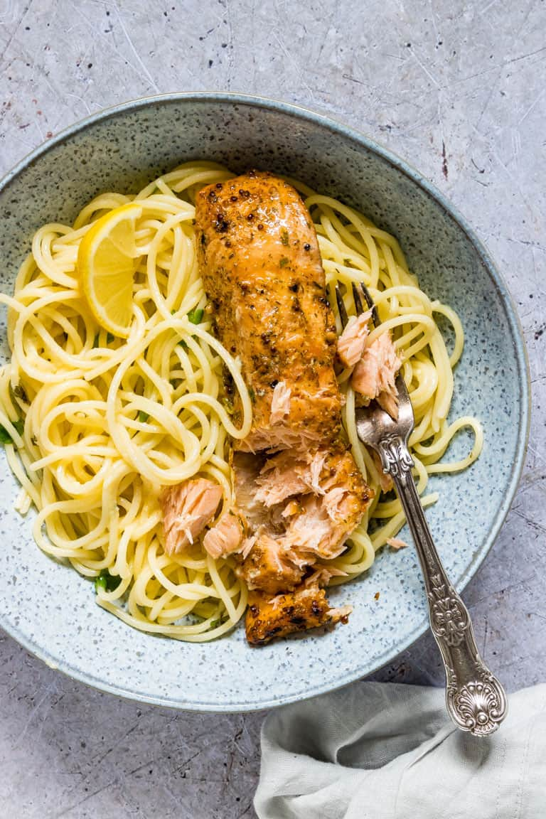 What better way to celebrate a big birthday than with a delicious, home cooked meal? Click through for 40 delicious birthday dinner ideas to celebrate that special someone at home. #recipes | glitterinc.com | @glitterinc // Lemon Butter Salmon Pasta