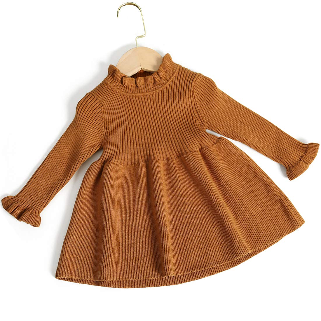 Little Girls Long Sleeve Cozy Casual Ribbed Knit Sweater Dress