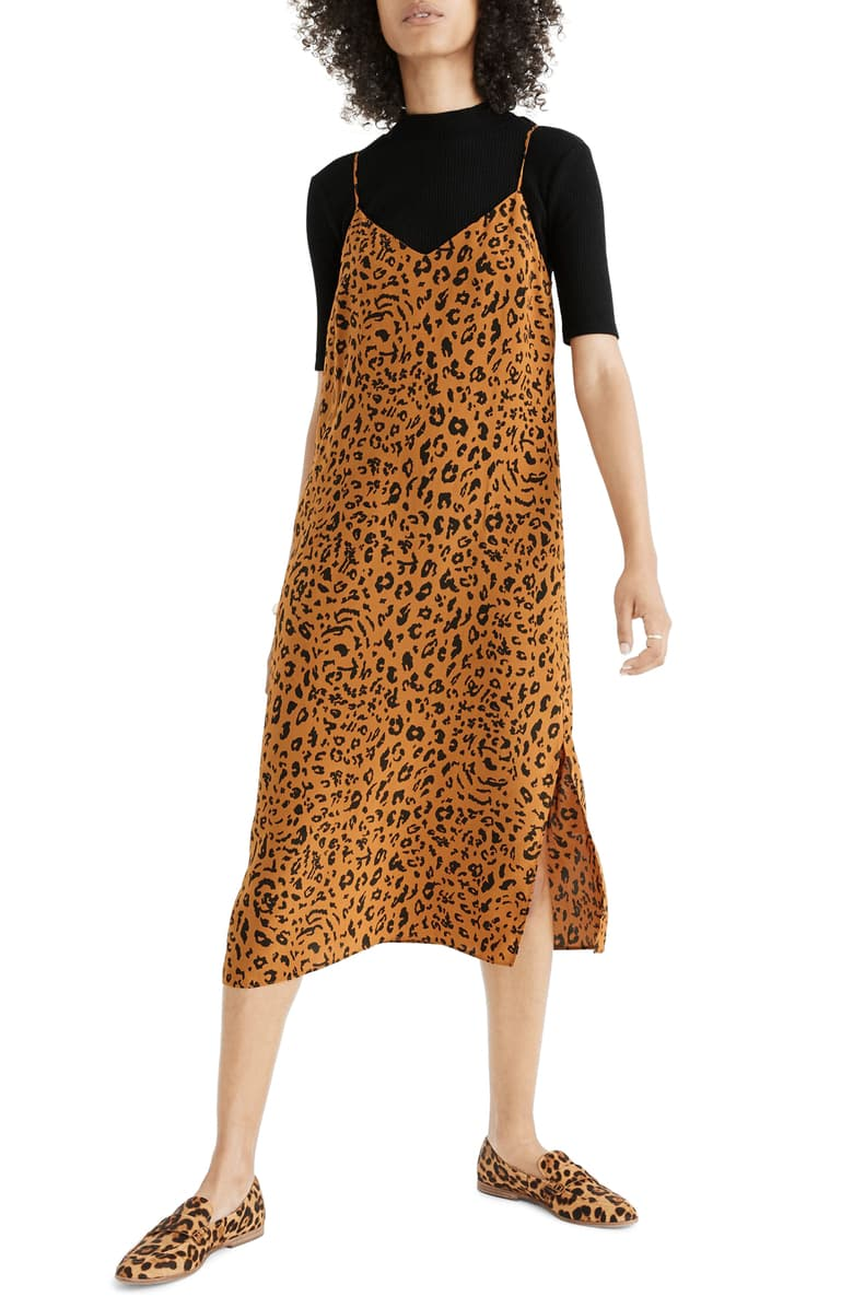 The Cutest Target Pajamas and Madewell Silk Side-Slit Slip Dress in Leopard