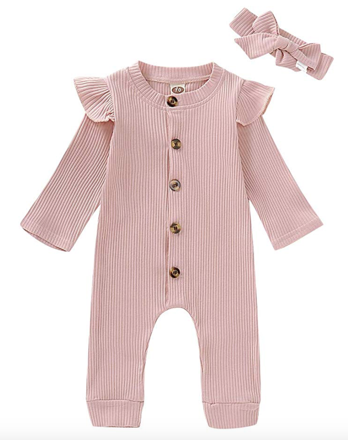 Newborn Baby Girl Jumpsuit Cotton Linen Solid Romper Short Sleeve One-Piece Bodysuit