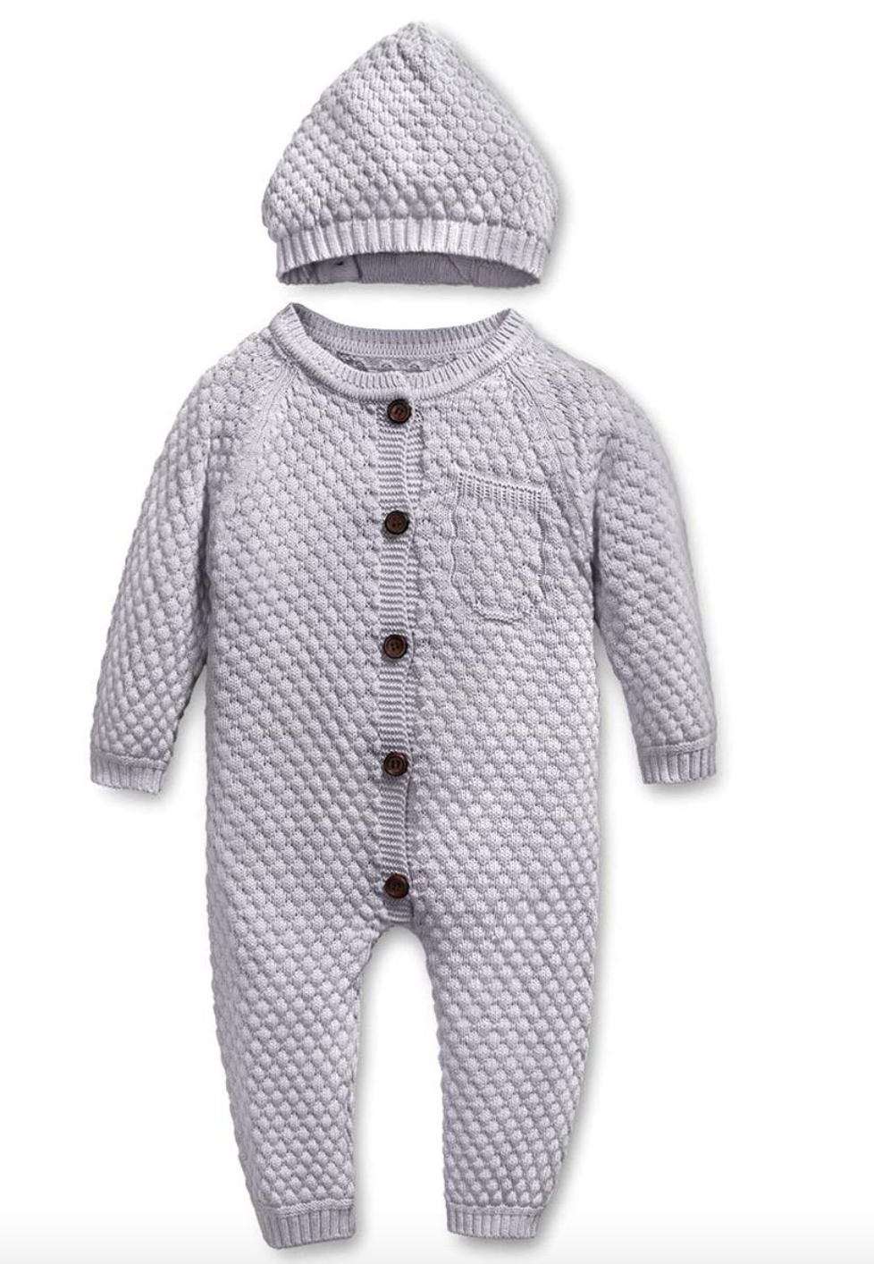 Newborn Baby Sweater Knitted Romper Bodysuit Jumpsuit with Warm Hat Set