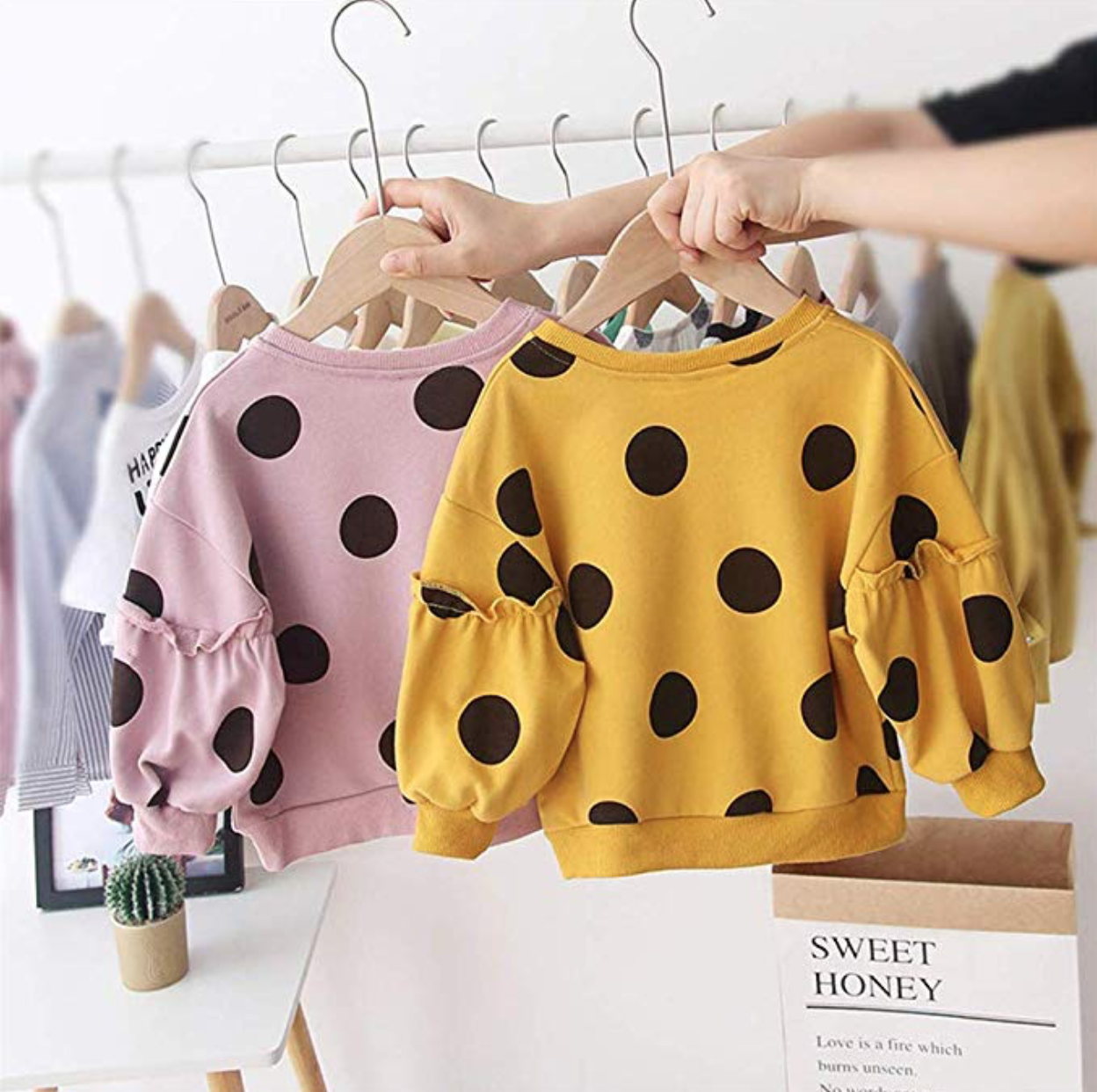 Newborn Infant Baby Girl Polka Dot Sweater Pullover Top
