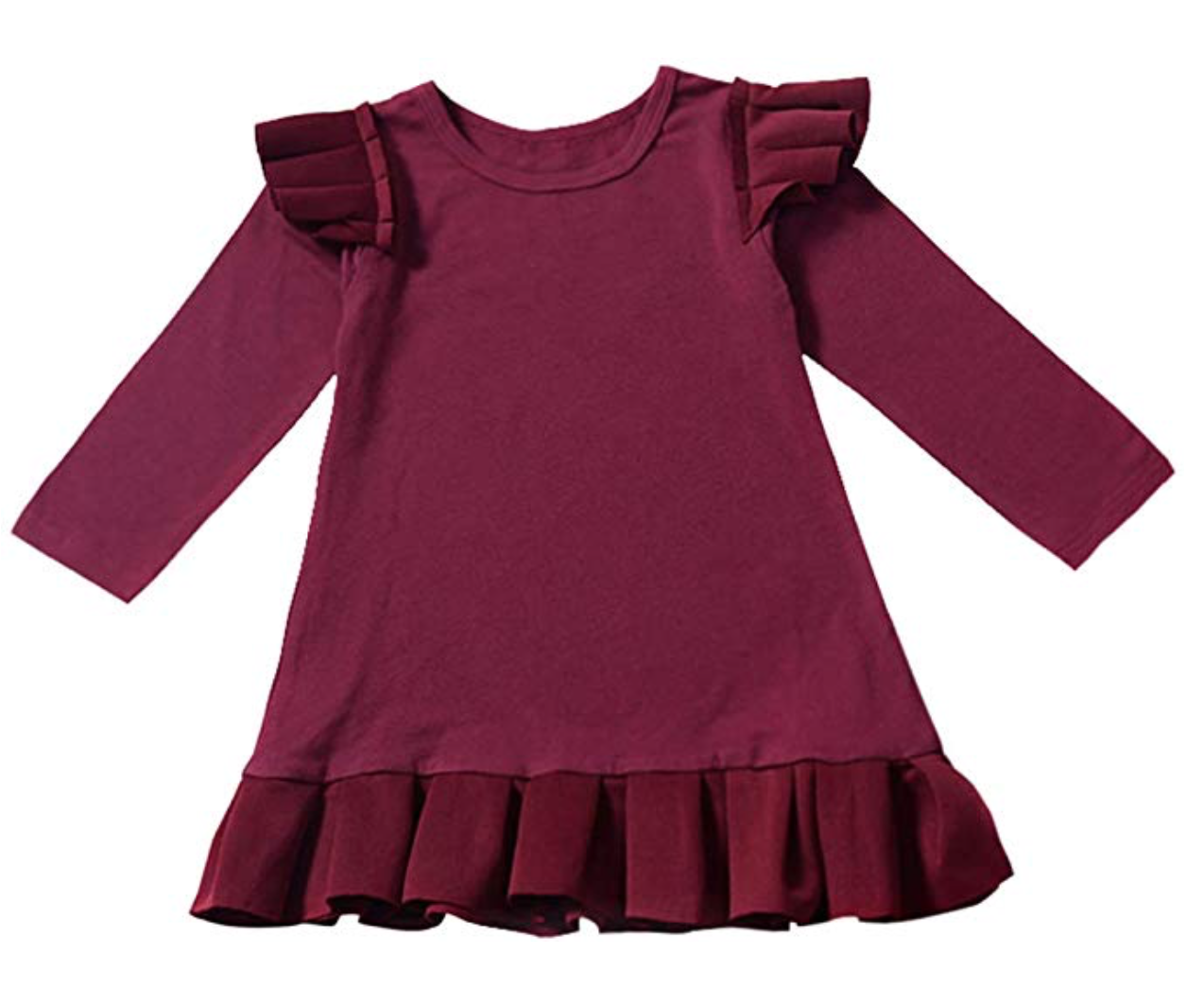 Ruffle Long Sleeve Solid Color Fly Skirt Pleated Dress