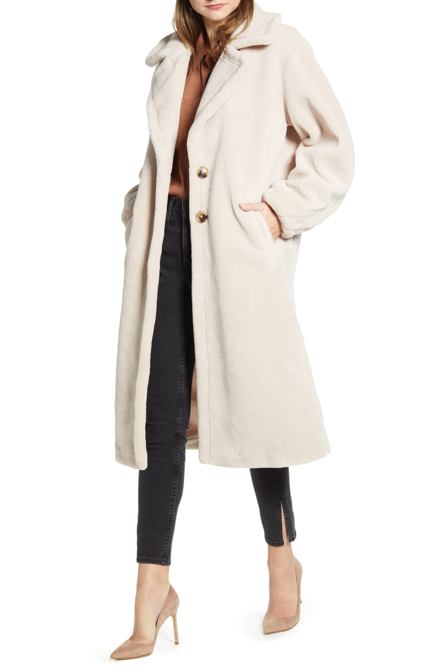 The Cutest Target Pajamas and Something Navy Faux Shearling Teddy Coat